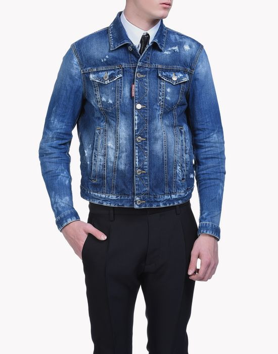 dan denim jacket manteaux & vestes Homme Dsquared2