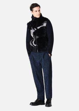 Armani Blousons Men multi-colour patchwork long-haired tuscan sheepskin blouson jacket