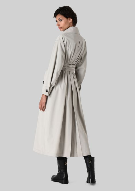 DOUBLE-BREASTED TRENCH COAT IN WOOL CLOTH: Classic Coats Women by Armani - 3