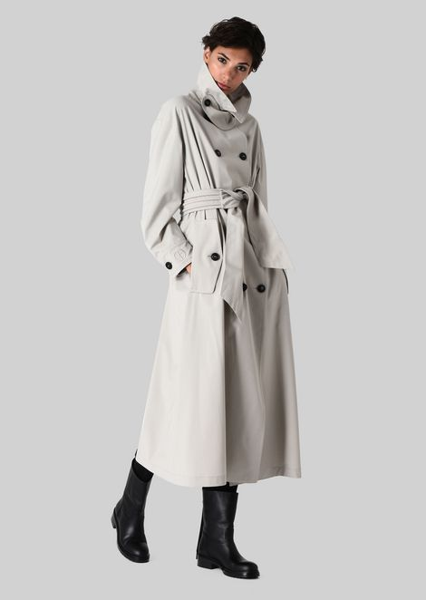 DOUBLE-BREASTED TRENCH COAT IN WOOL CLOTH: Classic Coats Women by Armani - 1