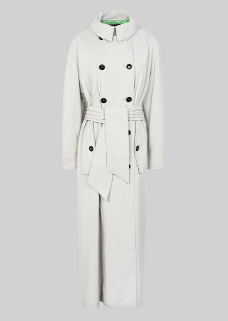 DOUBLE-BREASTED TRENCH COAT IN WOOL CLOTH: Classic Coats Women by Armani - 2