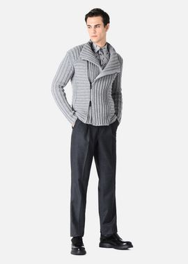 Armani Blousons Men fully fashioned wool and cashmere blouson jacket with ribbed detail