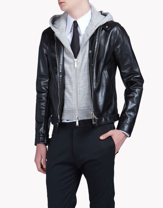 leather jacket capispalla Uomo Dsquared2