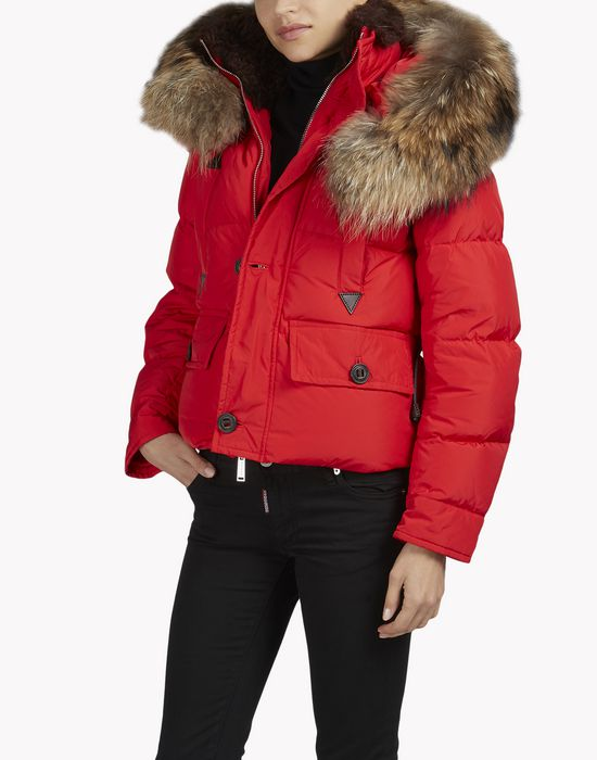 fur hood puffer jacket mäntel & jacken Damen Dsquared2