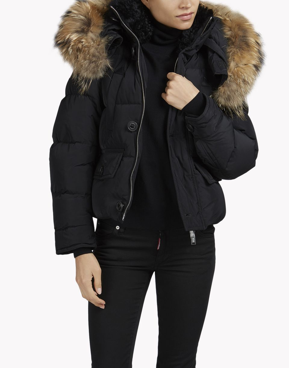 Womens Black Jacket With Fur Hood Designer Jackets