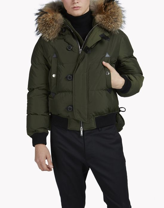 fur-trimmed puffer bomber jacket coats & jackets Man Dsquared2