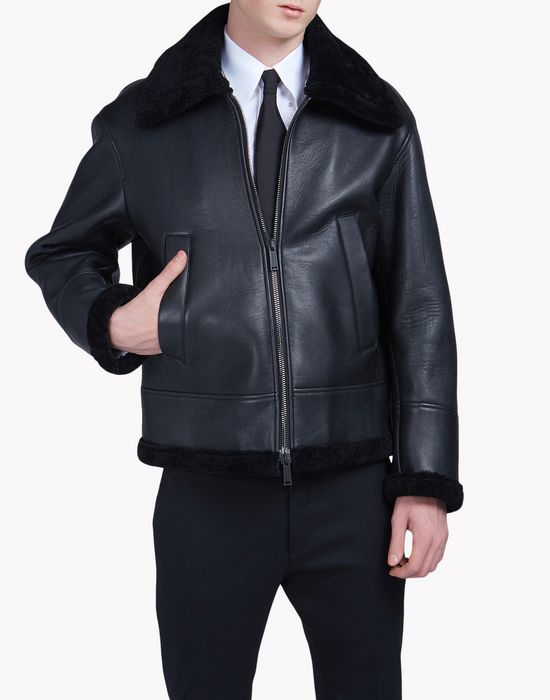 shearling-trimmed leather jacket manteaux & vestes Homme Dsquared2
