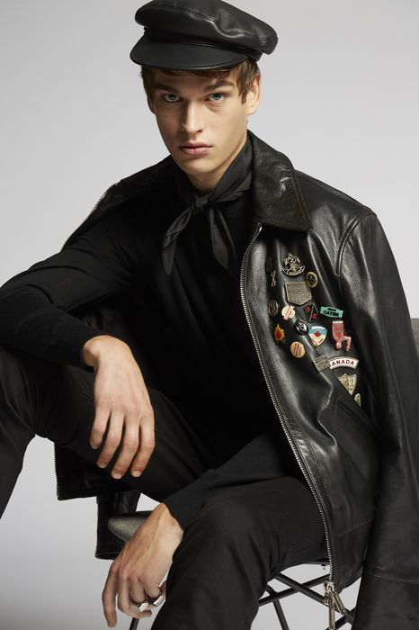 scout pins leather jacket coats & jackets Man Dsquared2