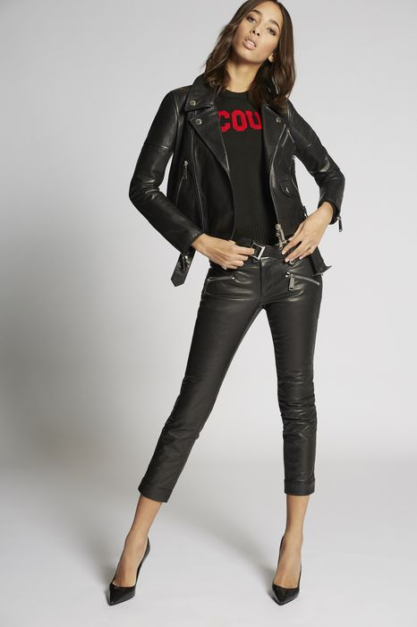 leather biker jacket manteaux & vestes Femme Dsquared2