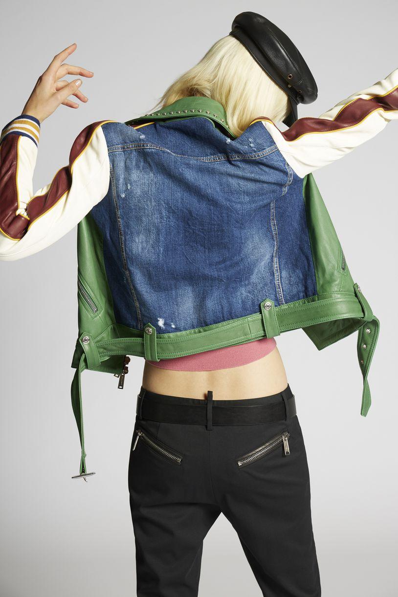 scout studded biker jacket coats & jackets Woman Dsquared2