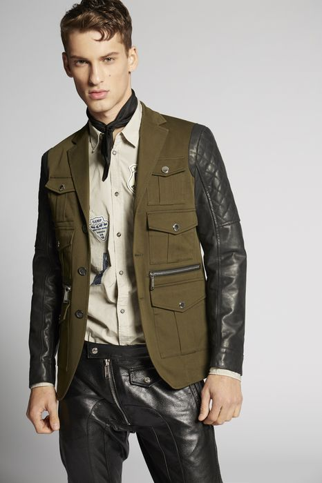 contrasted leather blazer coats & jackets Man Dsquared2