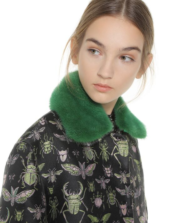 """REDValentino """"Insects"""" brocade coat with mink collar"""