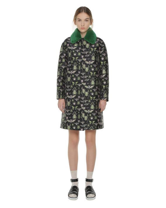 "REDValentino ""Insects"" brocade coat with mink collar"