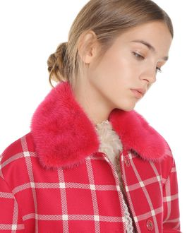 REDValentino Wool Cavalry Check coat with mink collar
