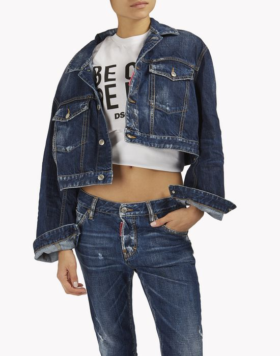 be cool be nice over denim jacket coats & jackets Woman Dsquared2