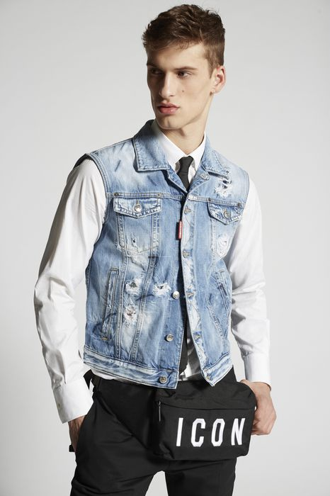 light blue marks denim vest coats & jackets Man Dsquared2