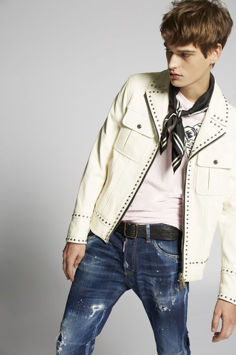 studded lamb leather jacket coats & jackets Man Dsquared2