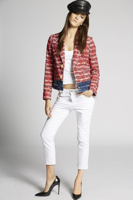 jacquard-contrasted denim jacket mäntel & jacken Damen Dsquared2