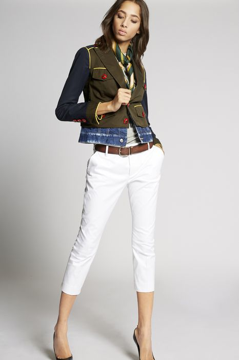 cotton twill-contrasted denim jacket coats & jackets Woman Dsquared2