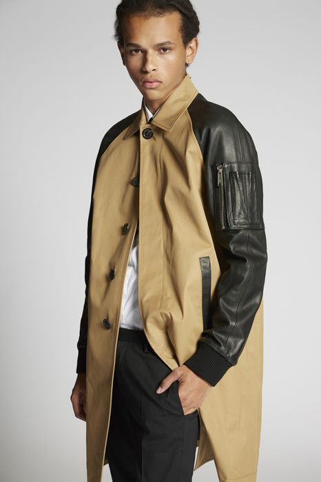 cotton twill-leather sleeves trench coat coats & jackets Man Dsquared2