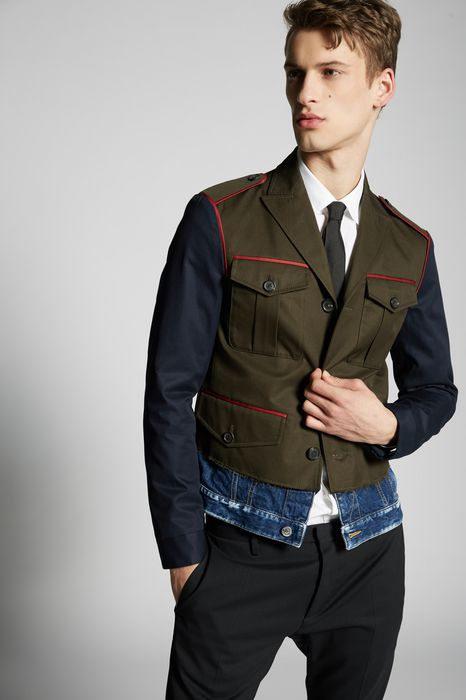cotton twill-contrasted denim jacket coats & jackets Man Dsquared2