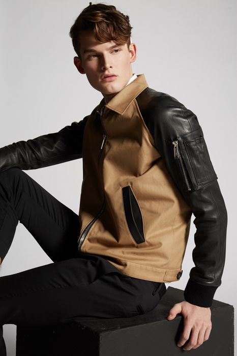cotton twill-leather sleeves boxy bomber coats & jackets Man Dsquared2