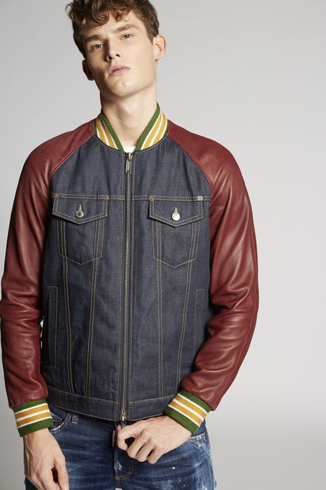 denim-leather sleeves jacket coats & jackets Man Dsquared2