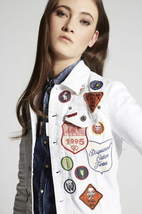 bull garment dyed patches denim jean jacket coats & jackets Woman Dsquared2