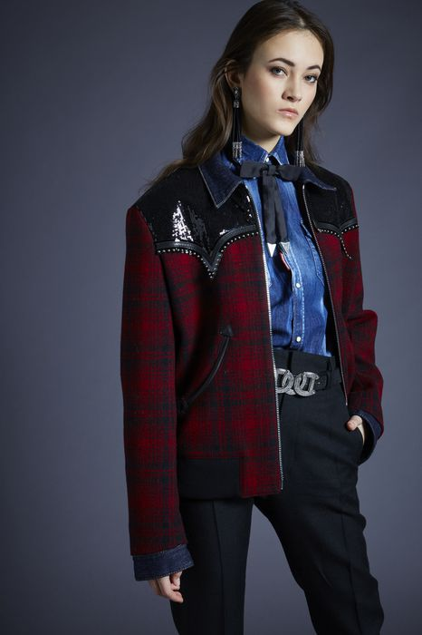 embellished check-wool bomber jacket coats & jackets Woman Dsquared2