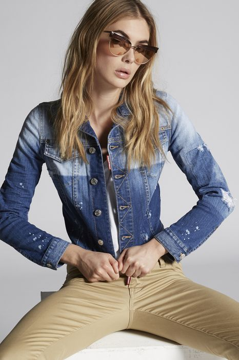 light patch pocket denim jacket coats & jackets Woman Dsquared2