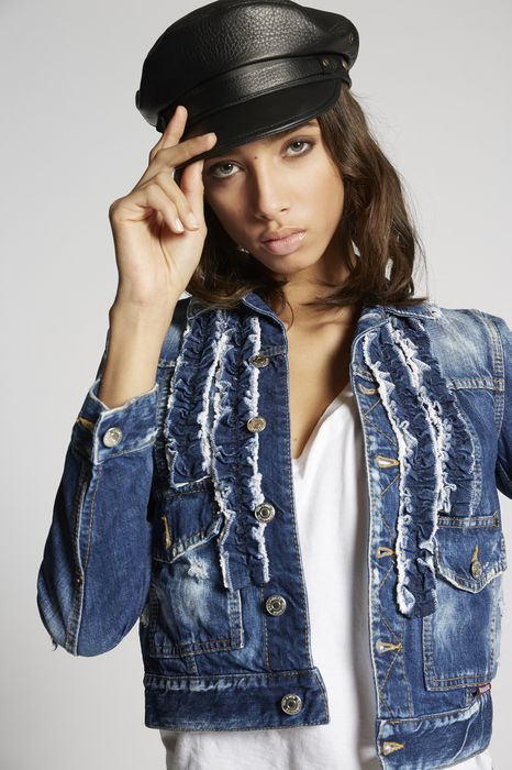 butch ruffled denim jacket coats & jackets Woman Dsquared2