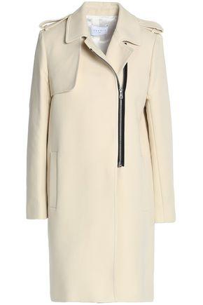 산드로 SANDRO Cotton-blend twill coat,Ecru