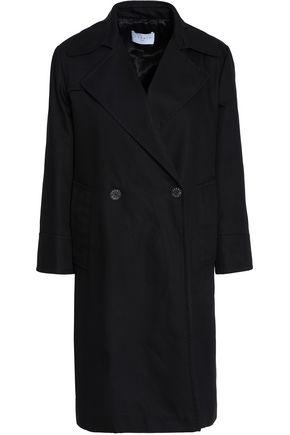 산드로 더블 브레스트 개버딘 코트 블랙 SANDRO Double-breasted cotton-gabardine coat, Black