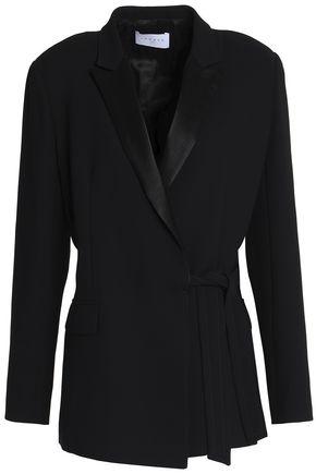 산드로 Sandro Flint satin-trimmed crepe wrap jacket,Black