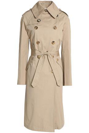 산드로 SANDRO Double-breasted cotton-gabardine trench coat,Beige