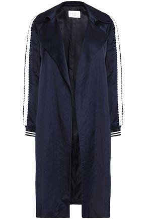 산드로 SANDRO Message satin-trimmed shantung coat,Navy