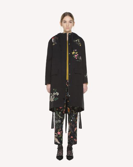 Enchanted Reptiles and Birds embroidered Gabardine peacoat