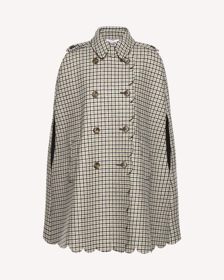 Houndstooth cape with scallop detail