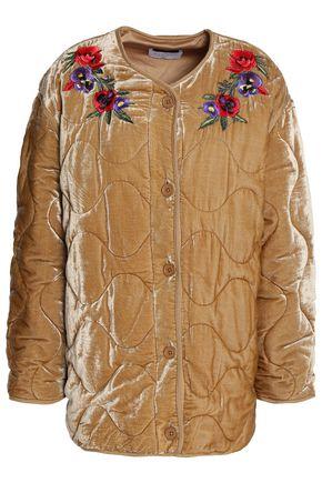 산드로 SANDRO Embroidered quilted velvet jacket,Sand