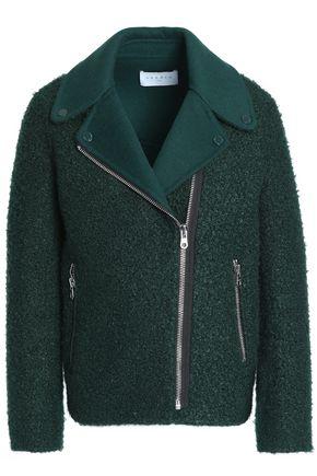 산드로 SANDRO Alik faux shearling biker jacket,Emerald