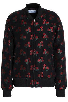 산드로 SANDRO Floral-jacquard bomber jacket,Black