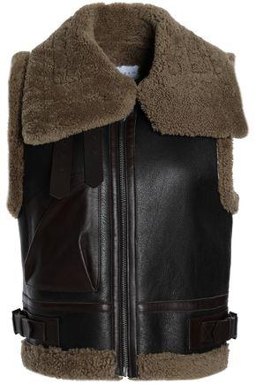 산드로 SANDRO Shearling-paneled leather vest,Dark brown