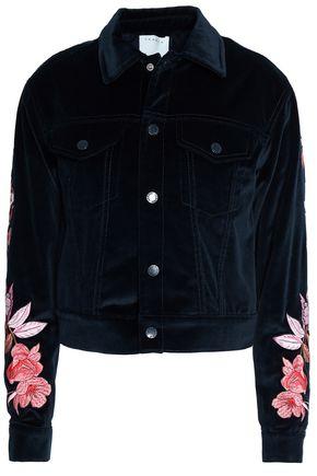 산드로 Sandro Embroidered cotton-velvet jacket,Midnight blue