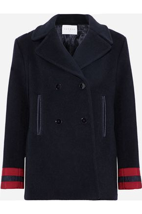 산드로 SANDRO Cynda double-breasted wool-blend coat,Midnight blue