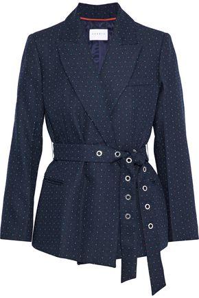 산드로 SANDRO Loulou belted embroidered twill jacket,Navy