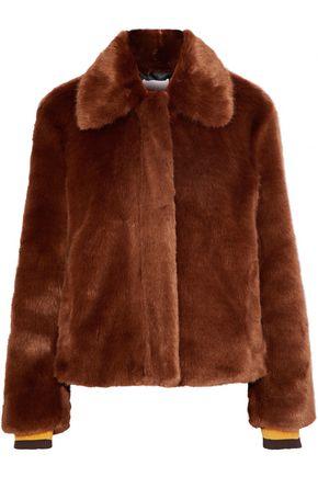 산드로 SANDRO Alesta faux fur jacket,Brown