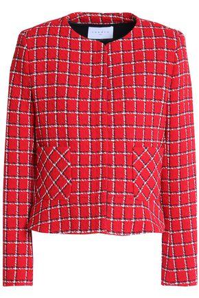 산드로 Sandro Checked boucle-tweed jacket,Red