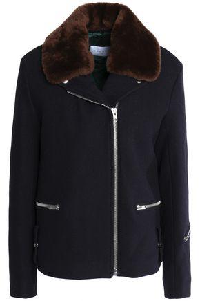 산드로 SANDRO Shearling-trimmed wool-blend felt jacket,Midnight blue