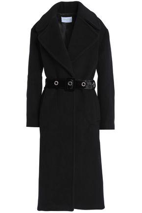 산드로 벨티드 울 블렌드 코트 블랙 SANDRO Belted wool-blend felt coat,Black