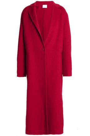 산드로 SANDRO Wool and cotton-blend felt coat,Claret